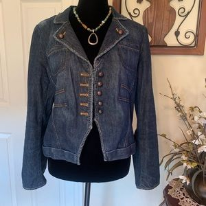 Bandolino Fitted Distressed Blue Jean Jacket Sz  8